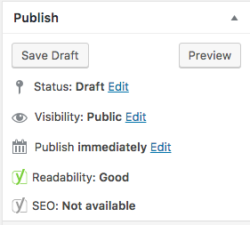 At the side the Yoast SEO tool shows readability and SEO at a glance.