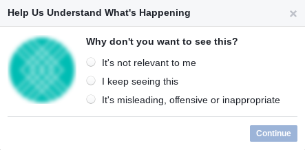 pop up when blocking facebook ads